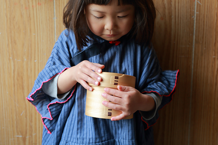 秋田大館工芸 曲げわっぱ 二ツ重丸弁当 ようちえん 4歳